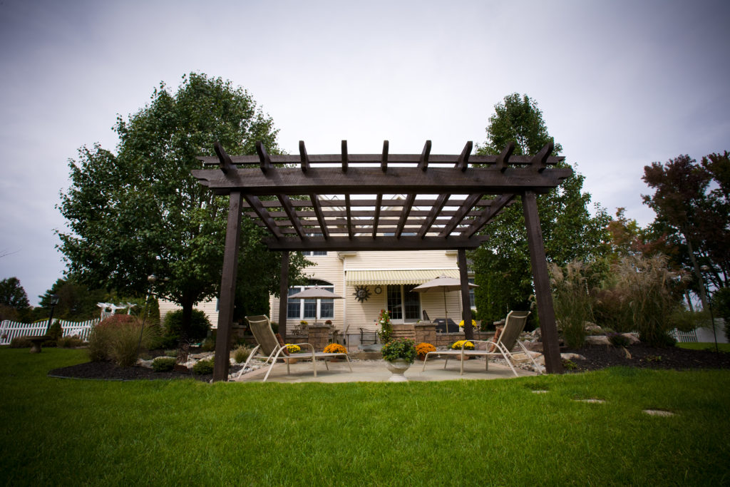 Dark brown pergola with two lounge chairs underneath it in the backyard.