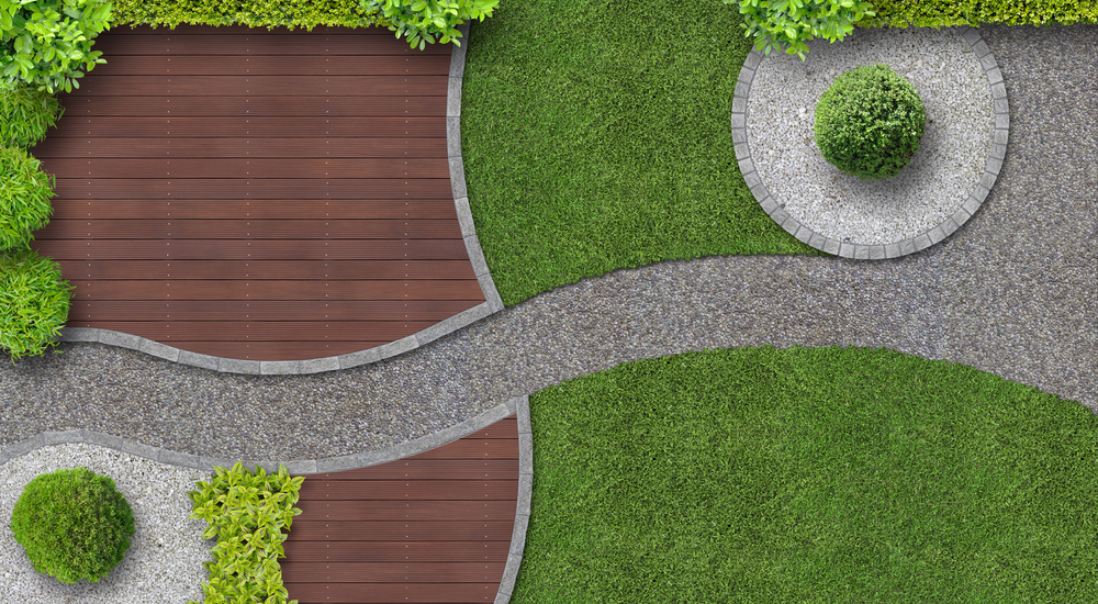 Modern garden design with terrace in top view.
